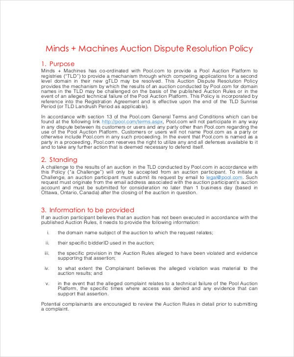 auction dispute resolution policy