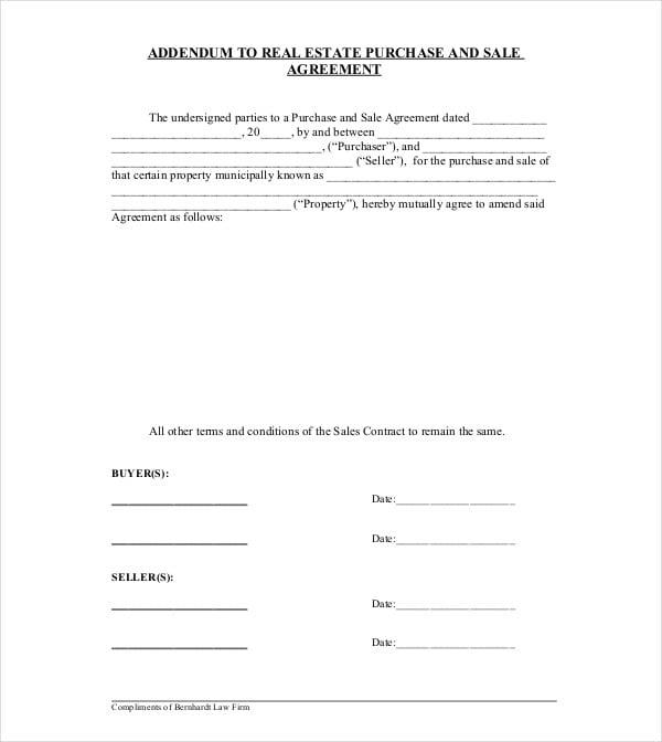 basic addendum to real estate purchase agreement