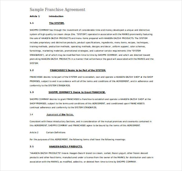basic franchise agreement