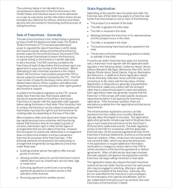 basic legal framework franchising
