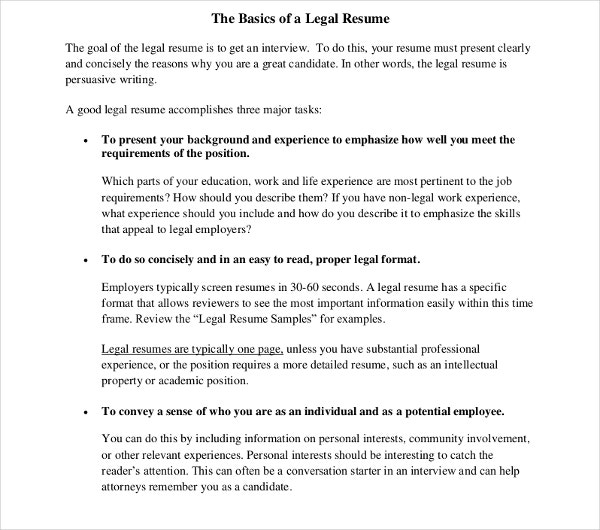 basic legal resume