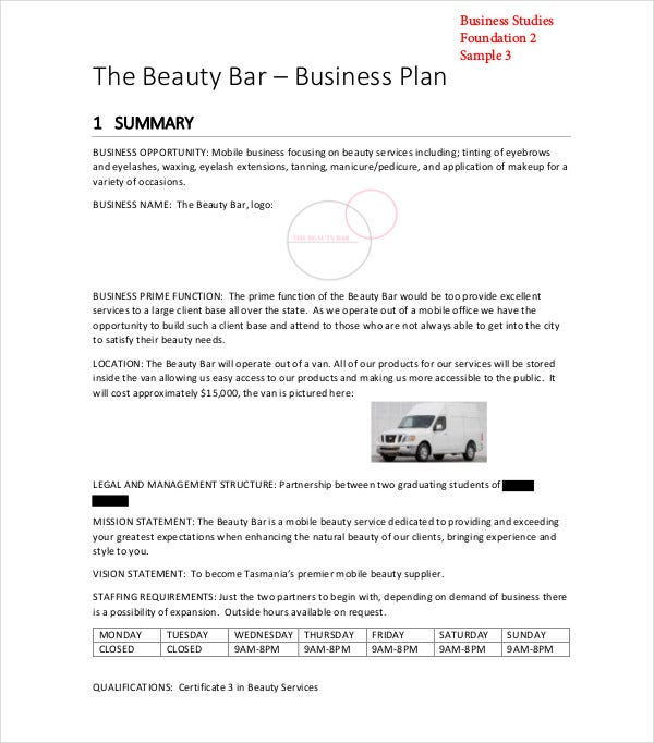 beauty bar business plan