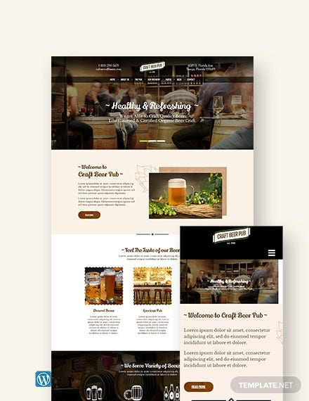 beer pub wordpress theme template