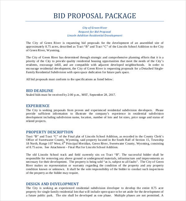 bid proposal package