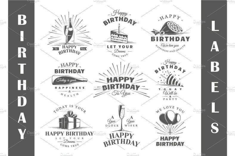 Birthday Labels Templates