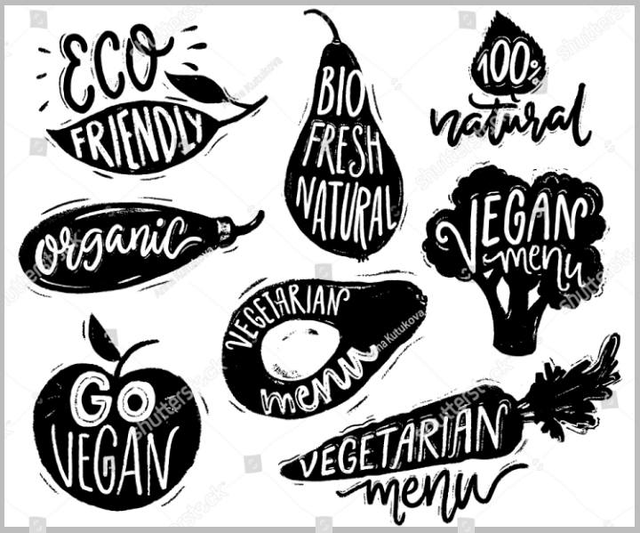 black-and-white-vegetarian-restaurant-food-label-template