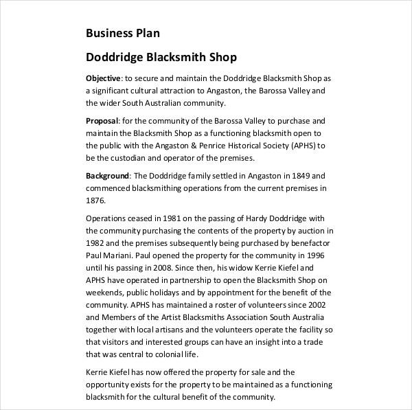 blacksmith shop business plan