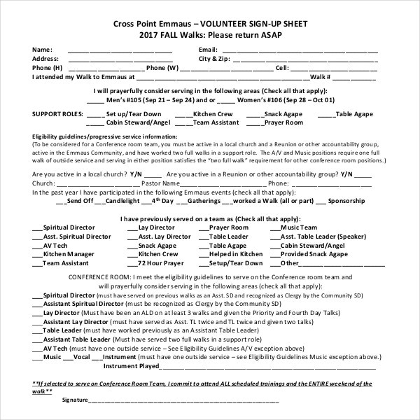 blank volunteer sign up sheet