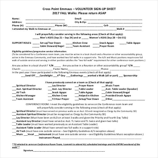 Blank Volunteer Sign-Up Sheet