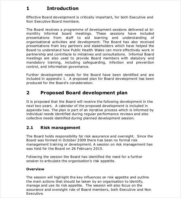 board development proposal plan