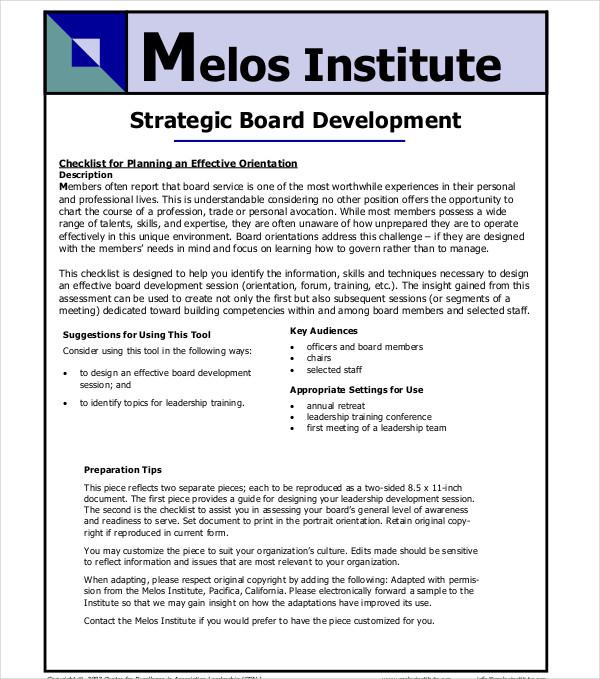 board development stategic plan