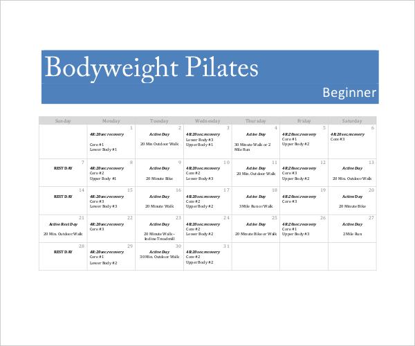 Body Weight Workout Calendar Template