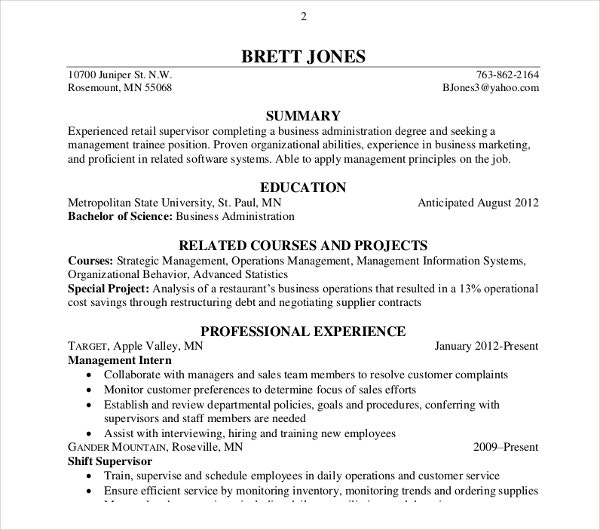 business accounting resume