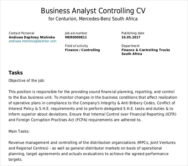 business analyst controlling cv