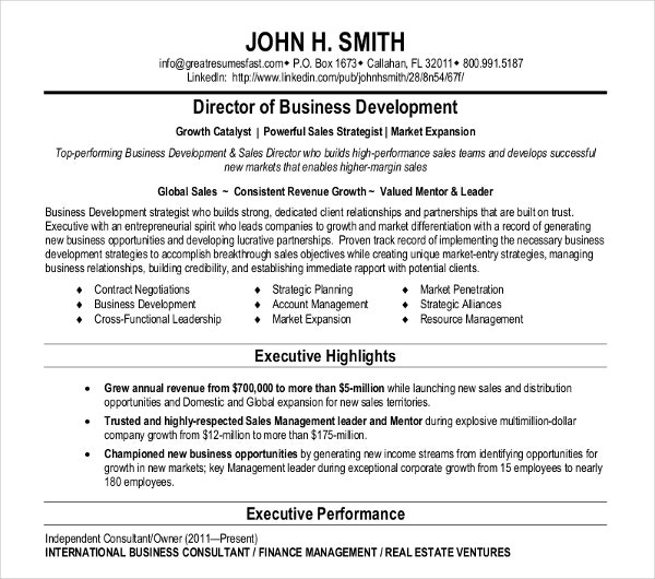business director development resume