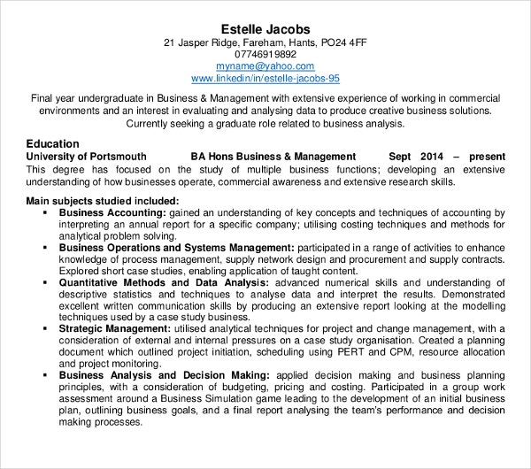 business management curriculum vitae