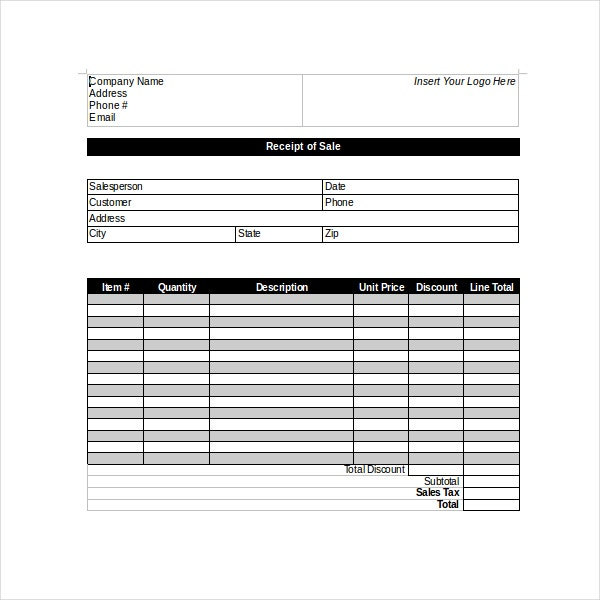 Business Sales Receipt Template