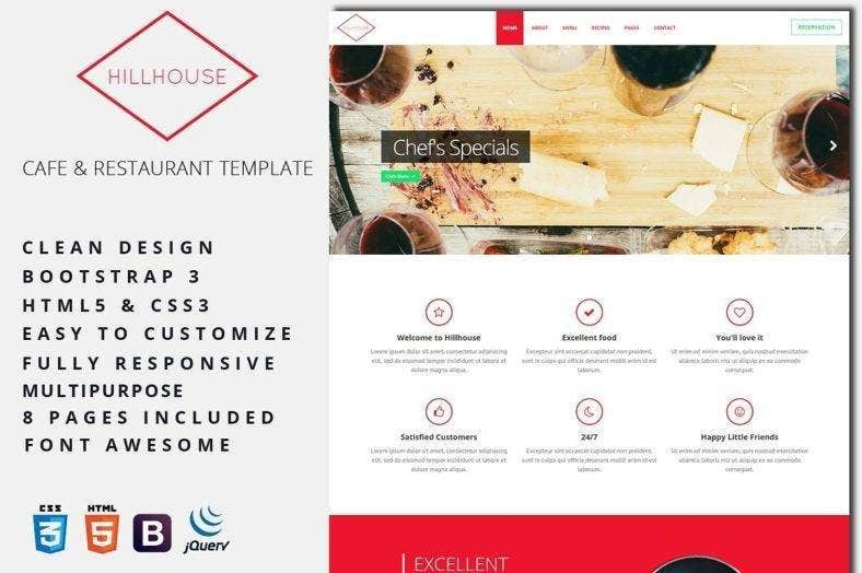 cafe restaurant bootstrap template 788x524