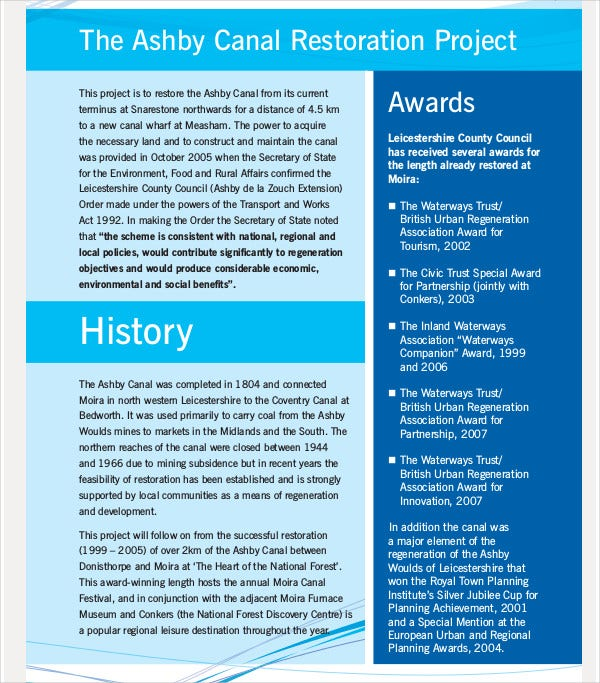 canal restoration business plan