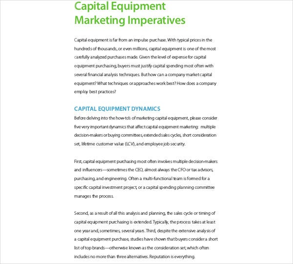 capital equipment marketing imperatives