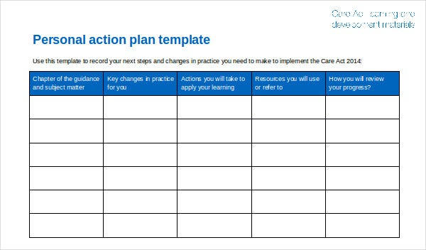 care act personal action plan