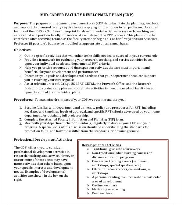 career faculty development plan