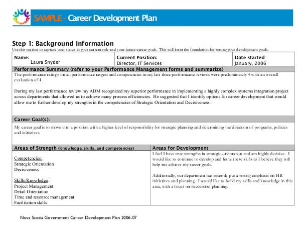career goal development plan