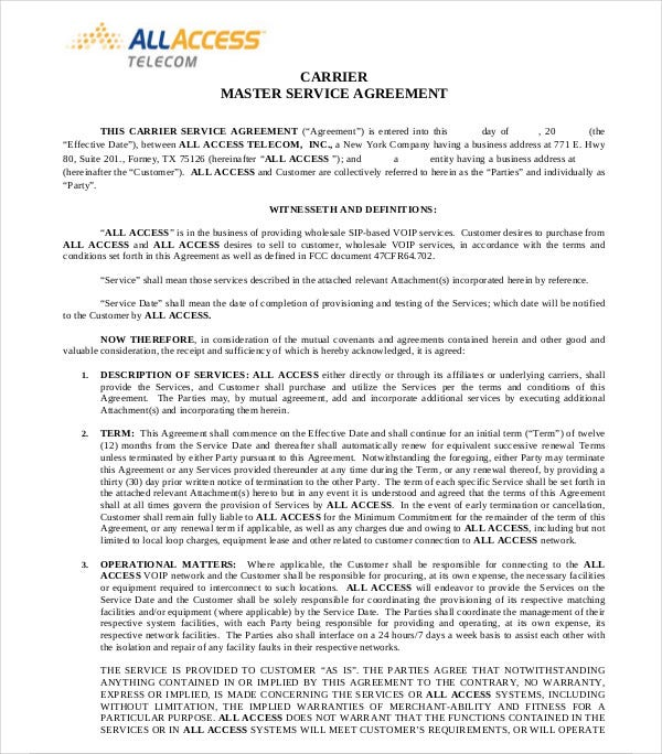 carrier master service agreement