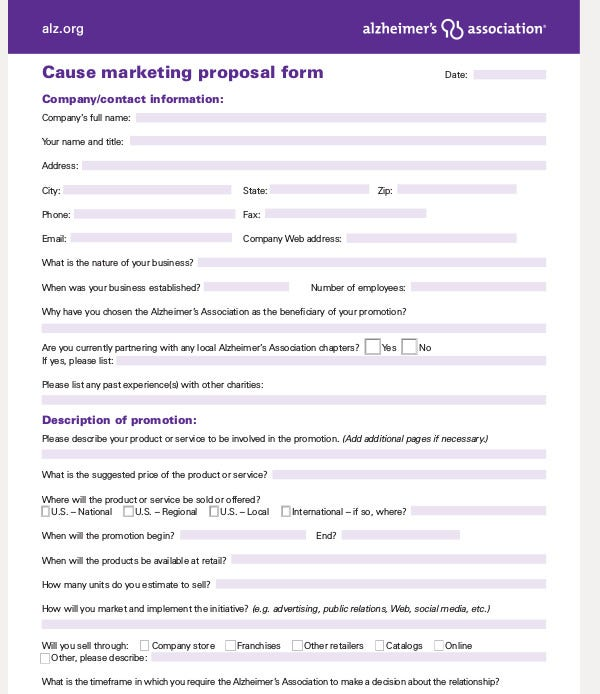 cause marketing proposal form