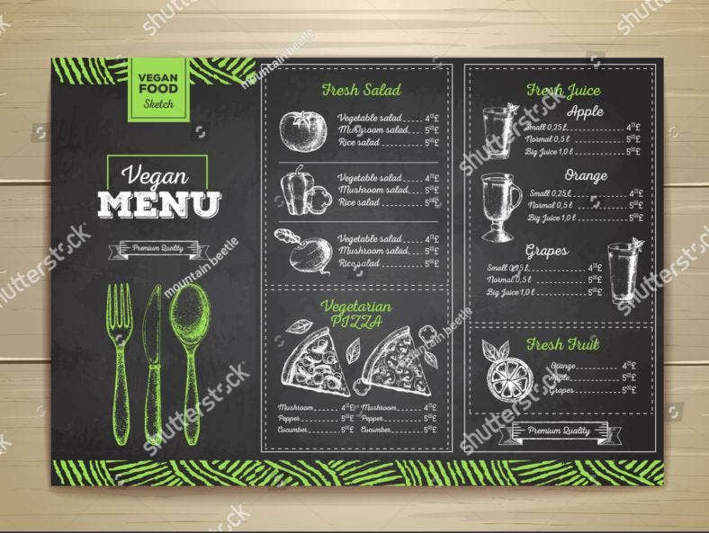 Chalk Drawing Vegetarian Menu Template