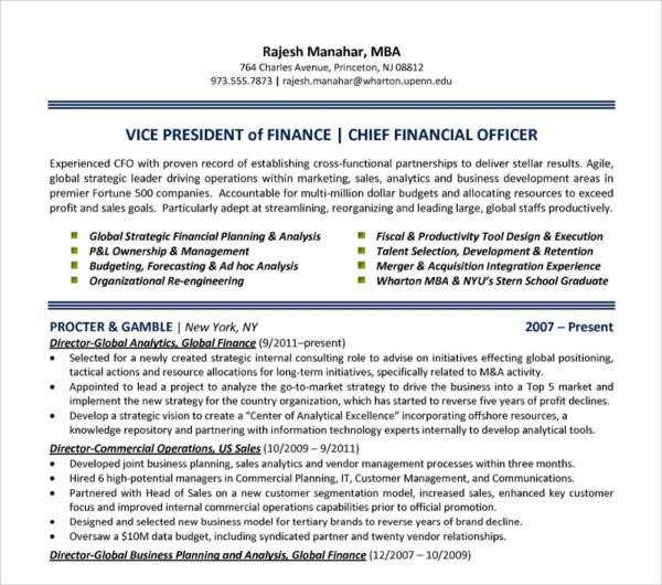 chief finance officer resume