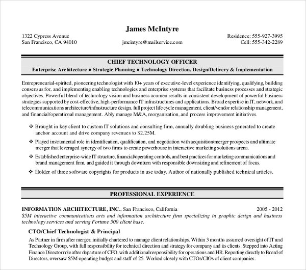 Chief-Technology-Officer-Executive-Resume Sample Digital Resume Format on job application, for high school students,