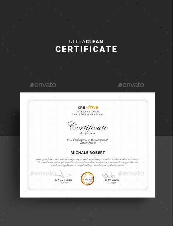 Clean Business Certificate Design