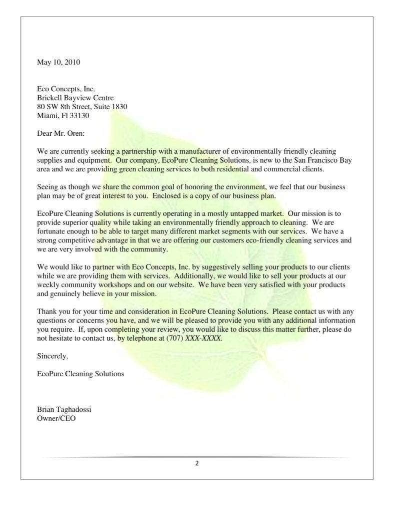 Cleaning Services Proposal Letter