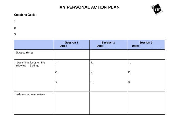 coaching personal action plan