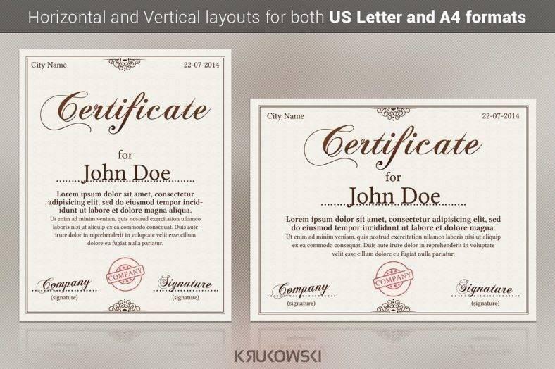 College Certificate A4 Format