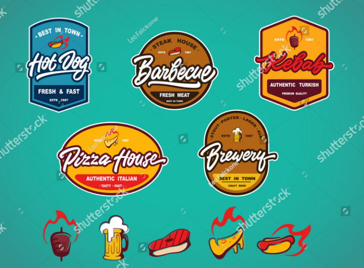 colorful-restaurant-food-label-template-set