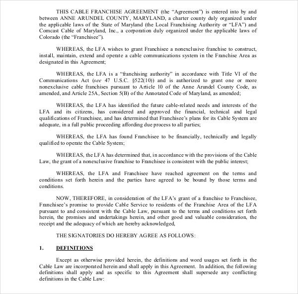 comcast franchise agreement