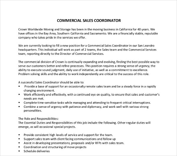 commercial sales coordinator resume