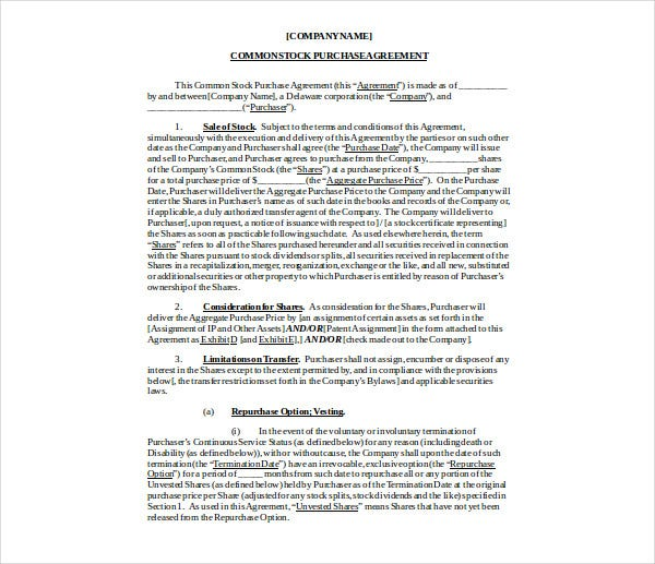 common stock purchase agreement
