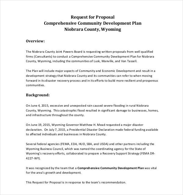 community development request praposal plan
