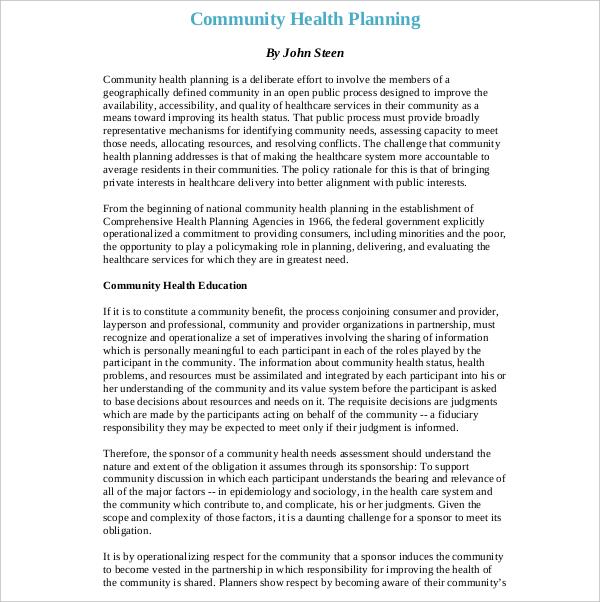 community health development plan