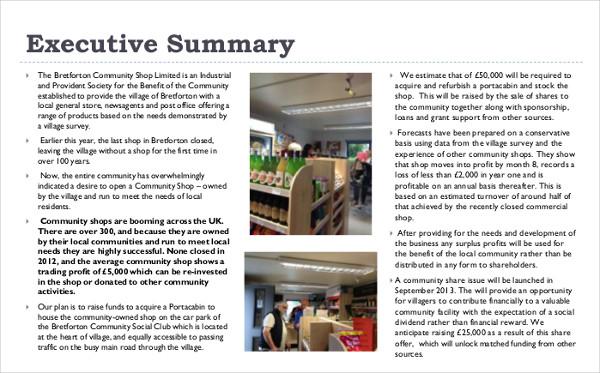 community shop business plan