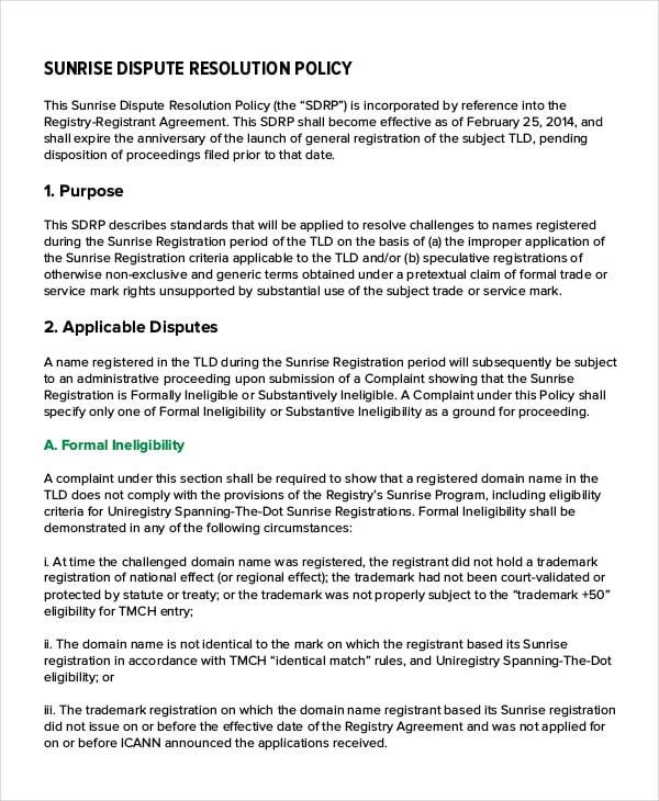 Company Dispute Resolution Policy
