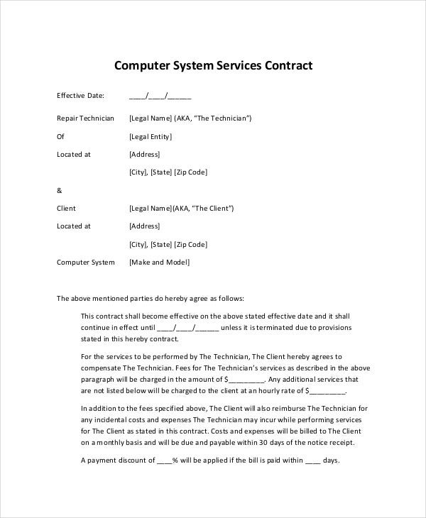 5 computer service agreements pdf doc free premium for Computer repair service agreement template