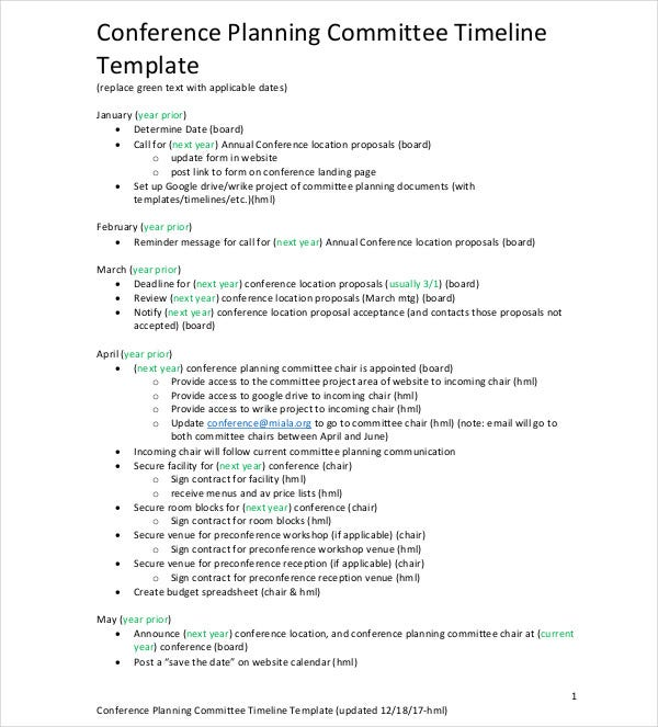 conference planning committee plan