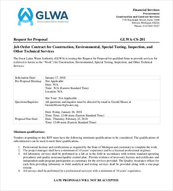 construction job order proposal