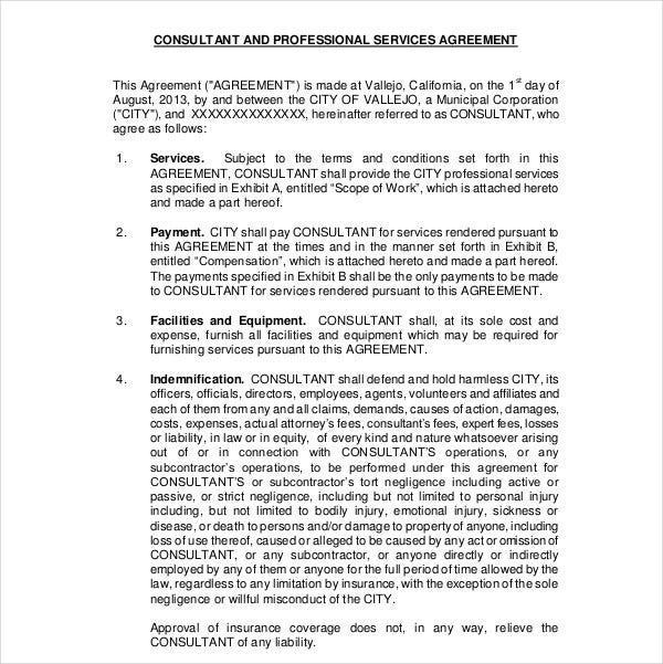 consultant professional services agreement