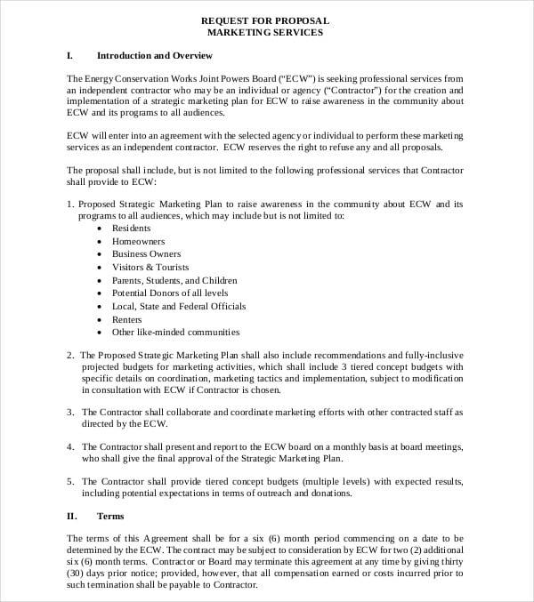 contractor marketing plan request