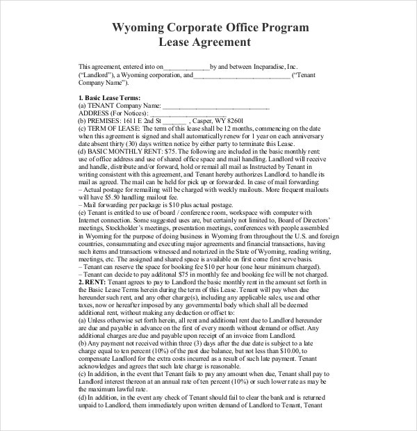 corporate office program lease agreement